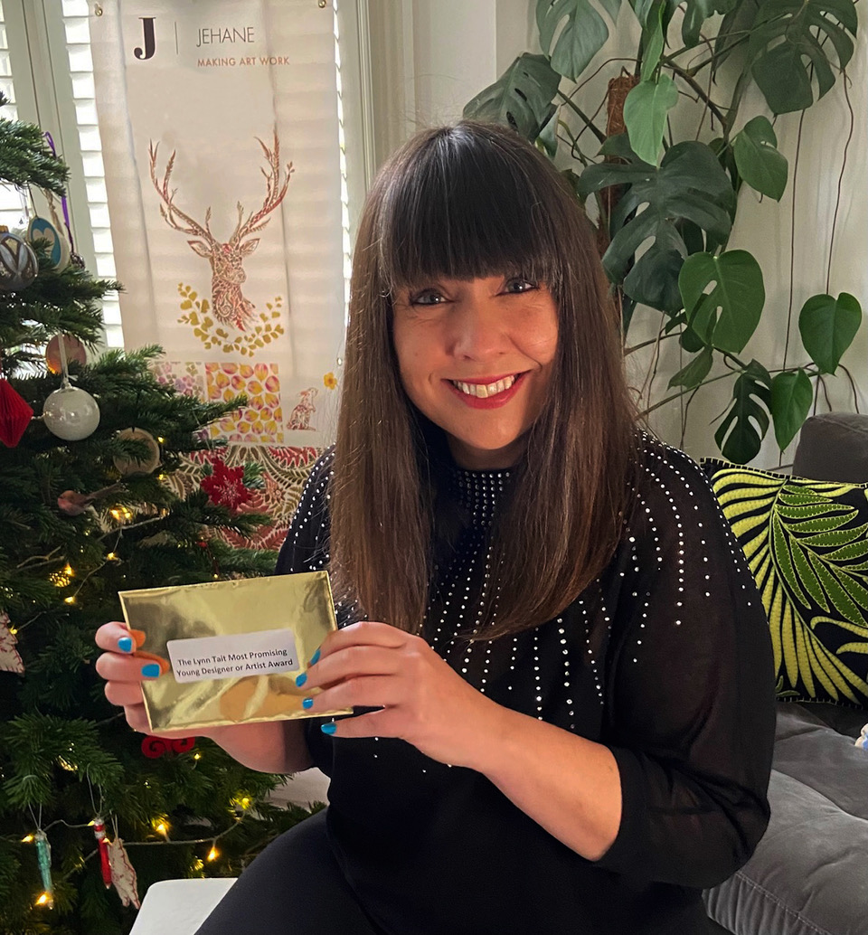 Above: Jehane Boden-Spiers, founder of Jehane artists agency is the sponsor of the Lynn Tait Most Promising Young Designer or Artist award this year. Here she is at the ready with her gold envelope ready to reveal the winner.