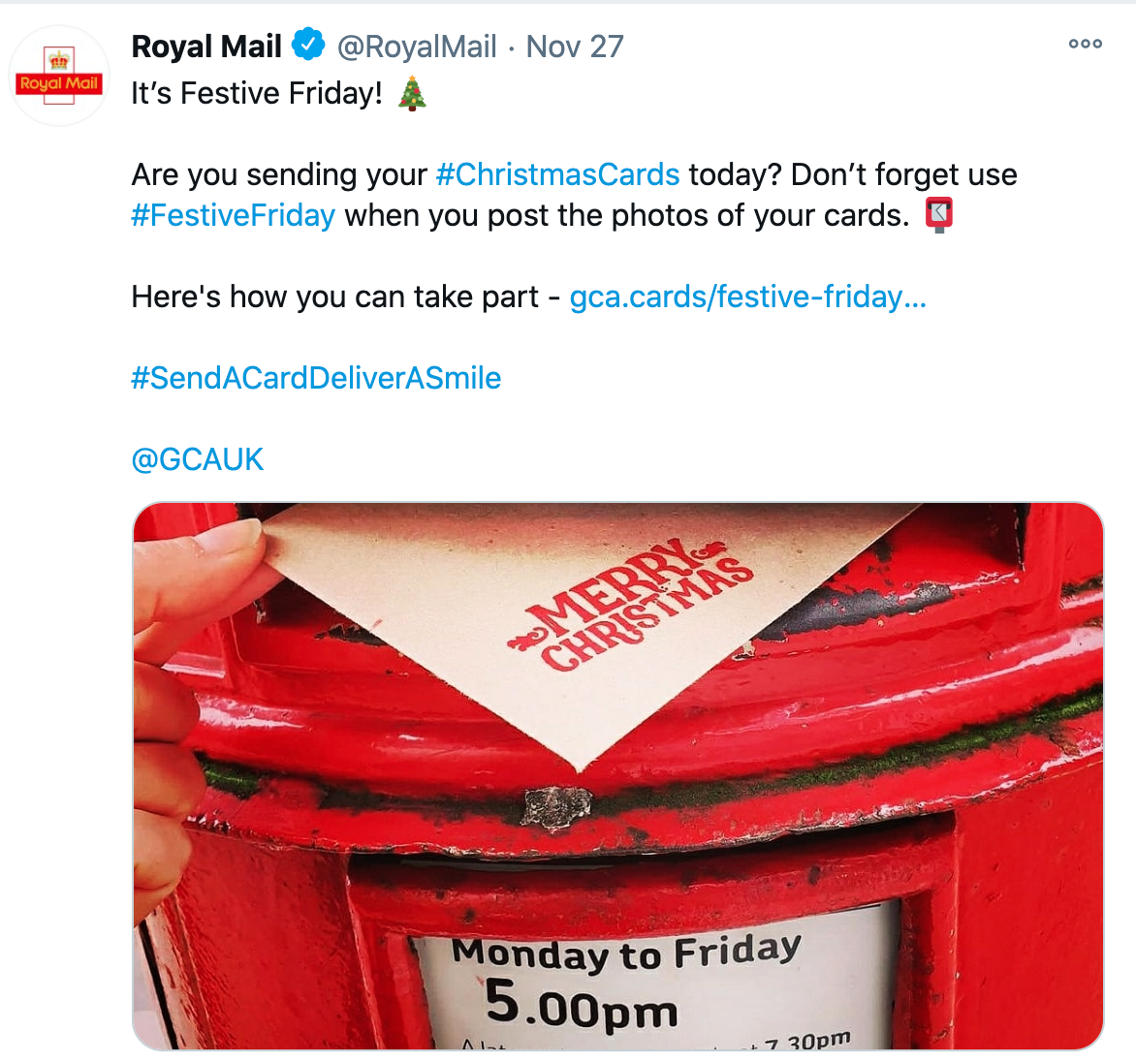 Above: Royal Mail took to social media to encourage Festive Friday Christmas card sending.