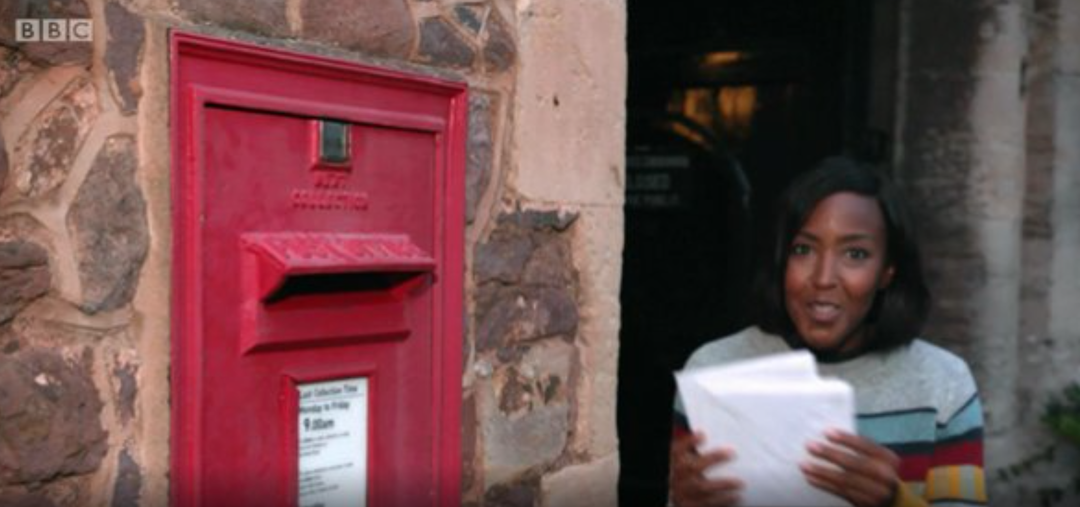 Above: Presenter Angellica Bell posting her Christmas cards on the Very Country Christmas programme.