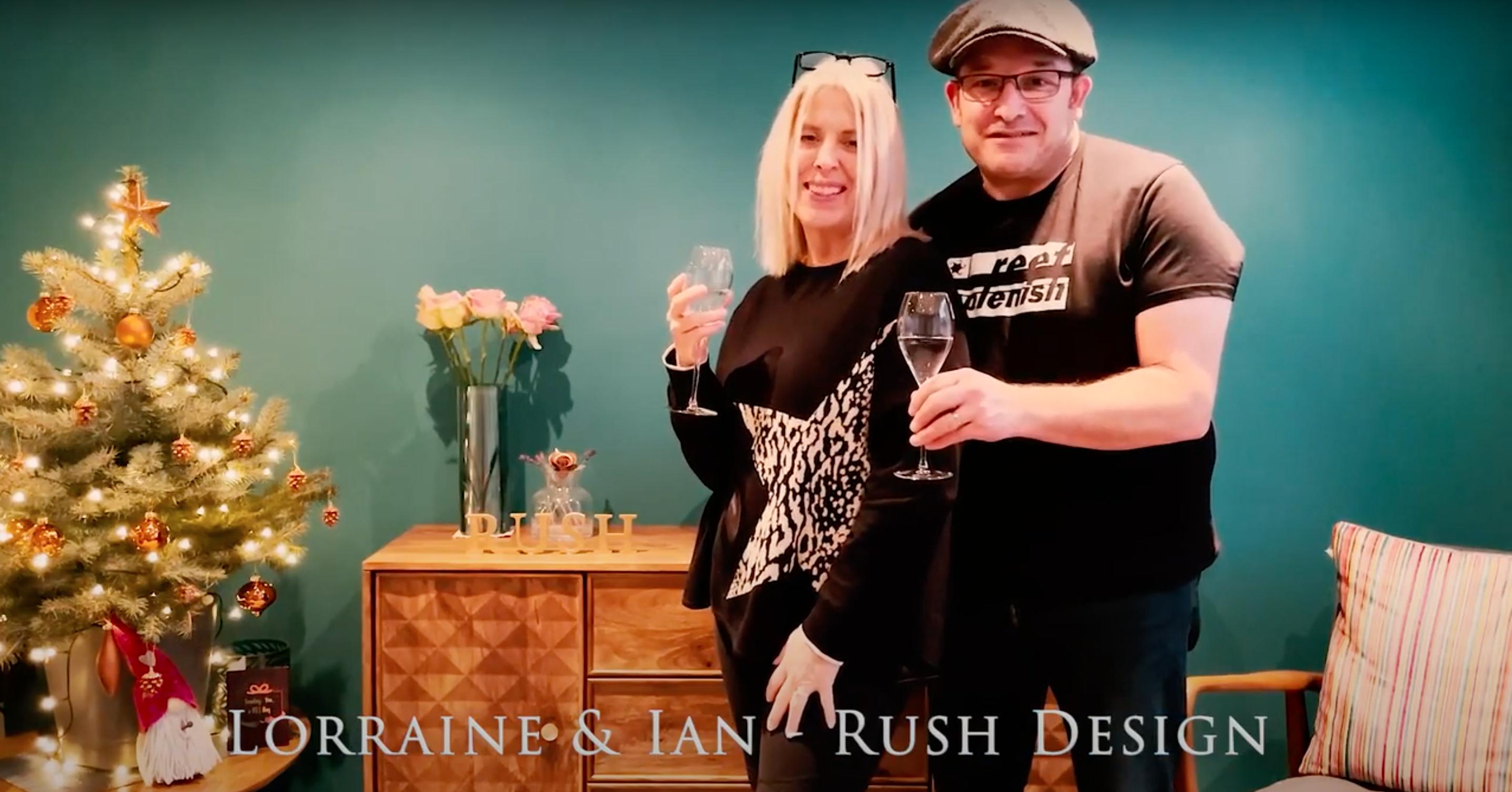Above: Lorraine and Ian Bradley of Rush Design said 'cheers' to retailers.