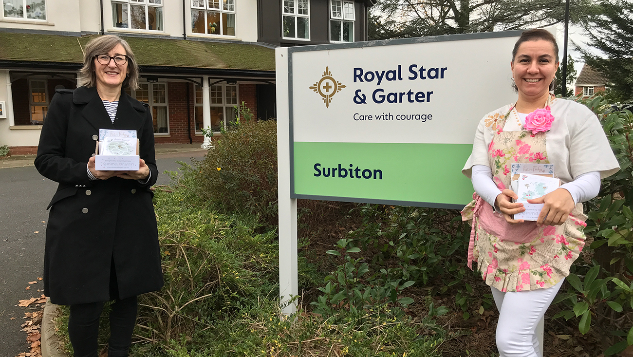 Above: Emma Bryan (left) with the Royal Star & Garter activities and volunteers manager Raquel Pena Aristazabel who ran Festive Friday event at the Surbiton care home.