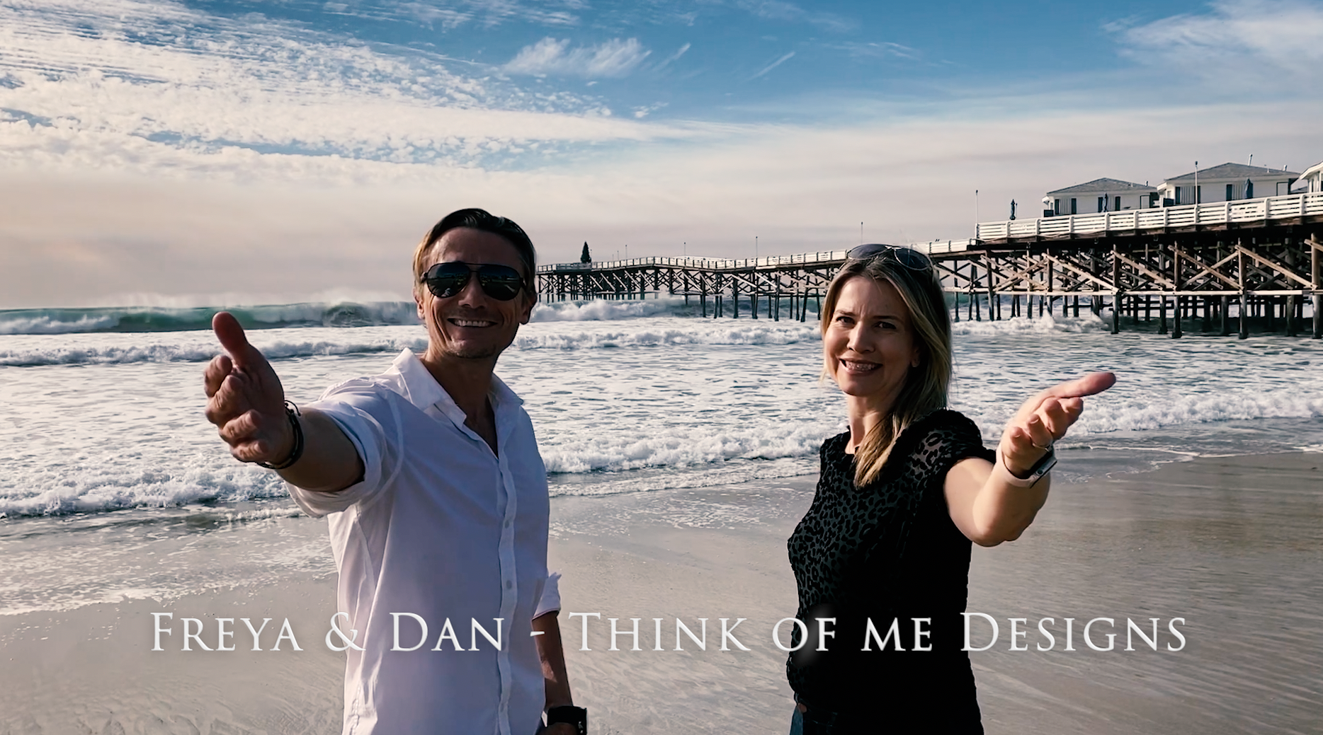 Above: Freya and Dan Kaye, owners of Think of Me Designs did their filming by the sea in California where they now live.