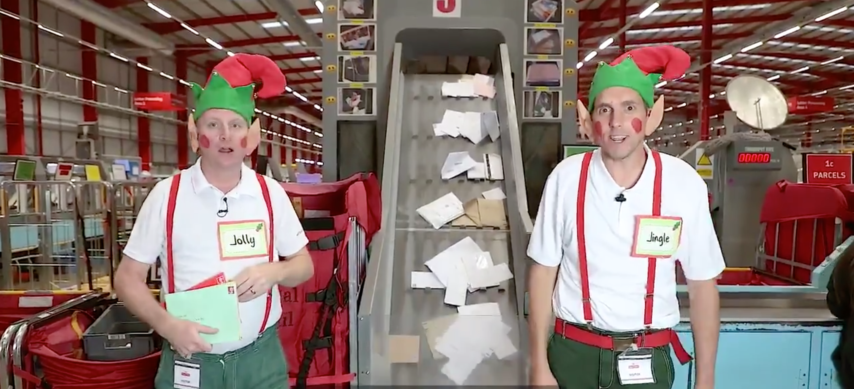 Above: Royal Mail's Christmas elves at work in the sorting office.