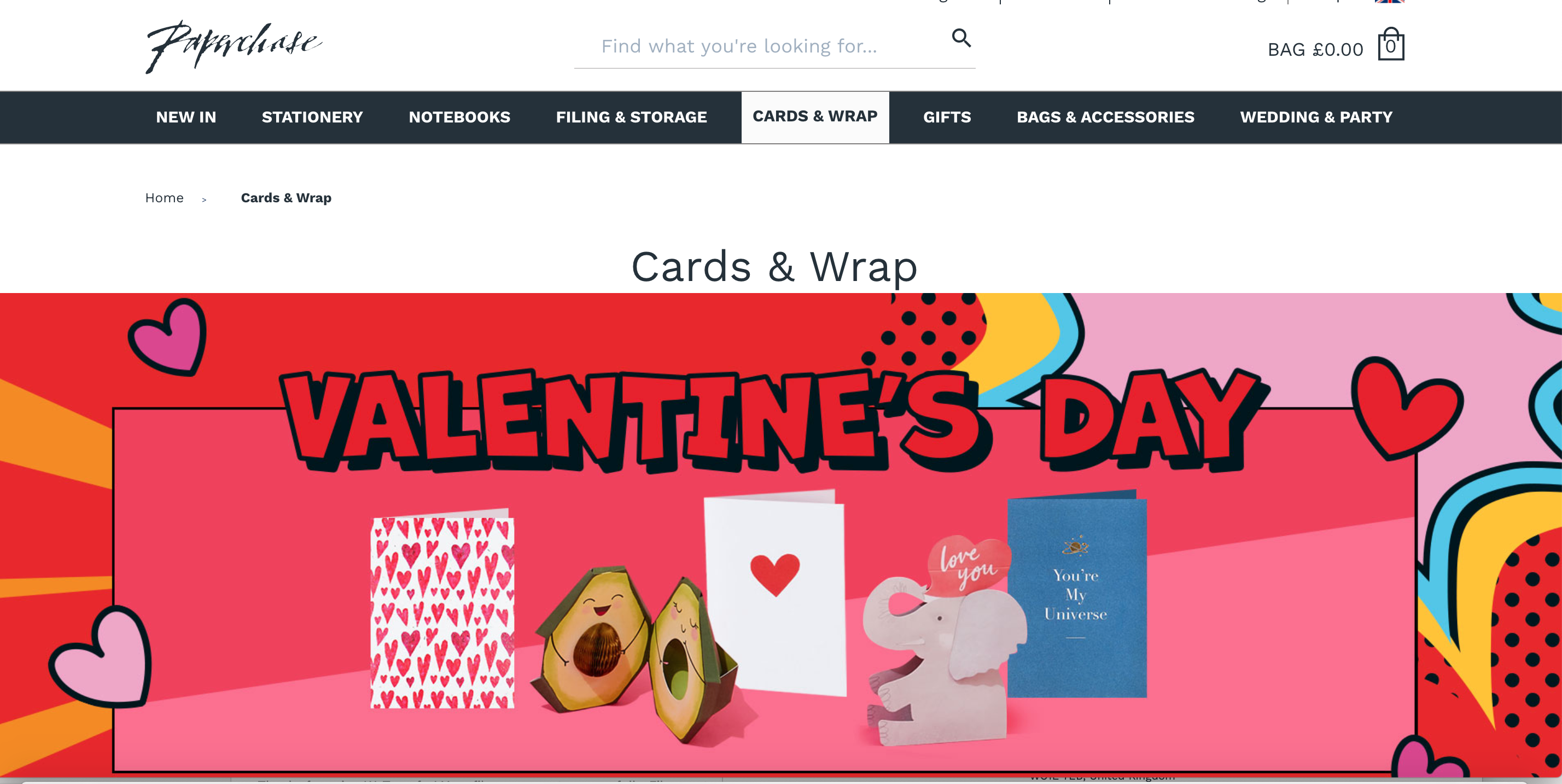 Above:Paperchase is still actively promoting greeting cards and stationery on its website.