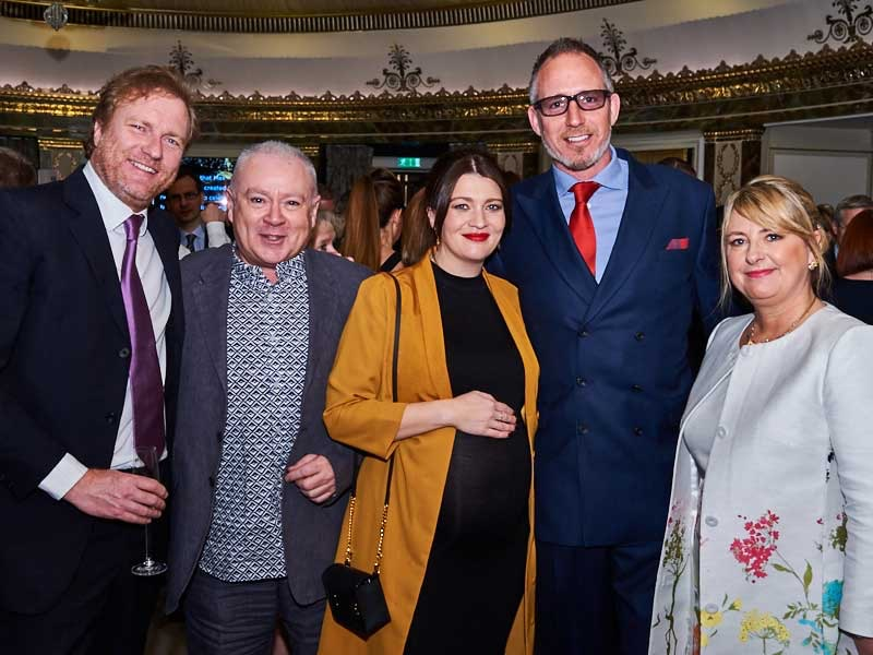 Above: Pigment's Steve Baker (second left) with Martin Powderly (second right) with (left-right) Giles Andreae and Heather Flynn (the co-directors of Happy Jackson) as well as PG's Jakki Brown.