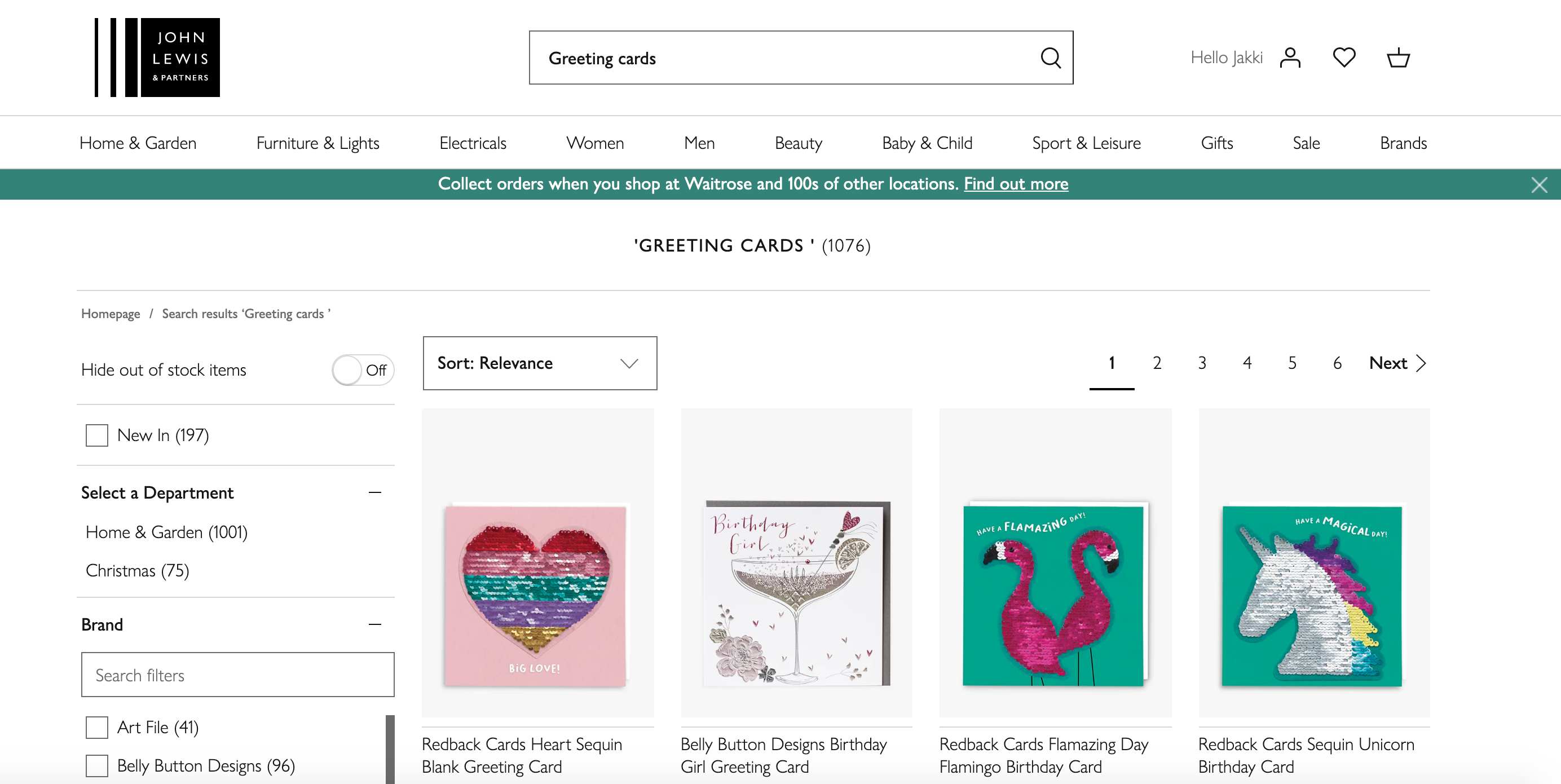 Above: John Lewis' online greeting card sales increased 370% year on year in 2020.