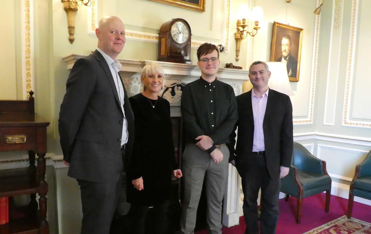 Above: Darren Cave, UKG's commercial director (left) with fellow GCA Council members (right-left) Daniel Prince (Danilo), Mark Callaby (Ohh Deer) and Karen Wilson (Paper Salad), before social distancing requirements!