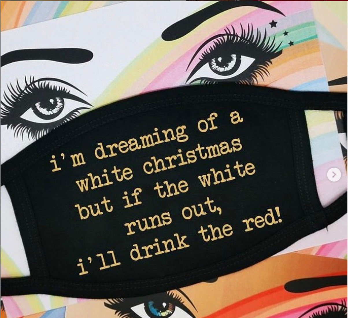 Above: One of the early posts on Box of Delights social media channels promoting its Christmas products, including these Five Dollar Shake face coverings.
