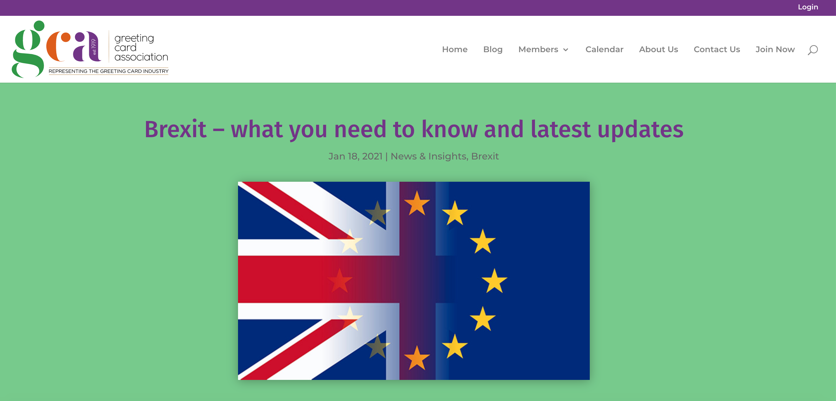 Above: The GCA website includes a dedicated blog post on the post Brexit situation that is updated regularly. The meeting recording though will only be available to GCA members.