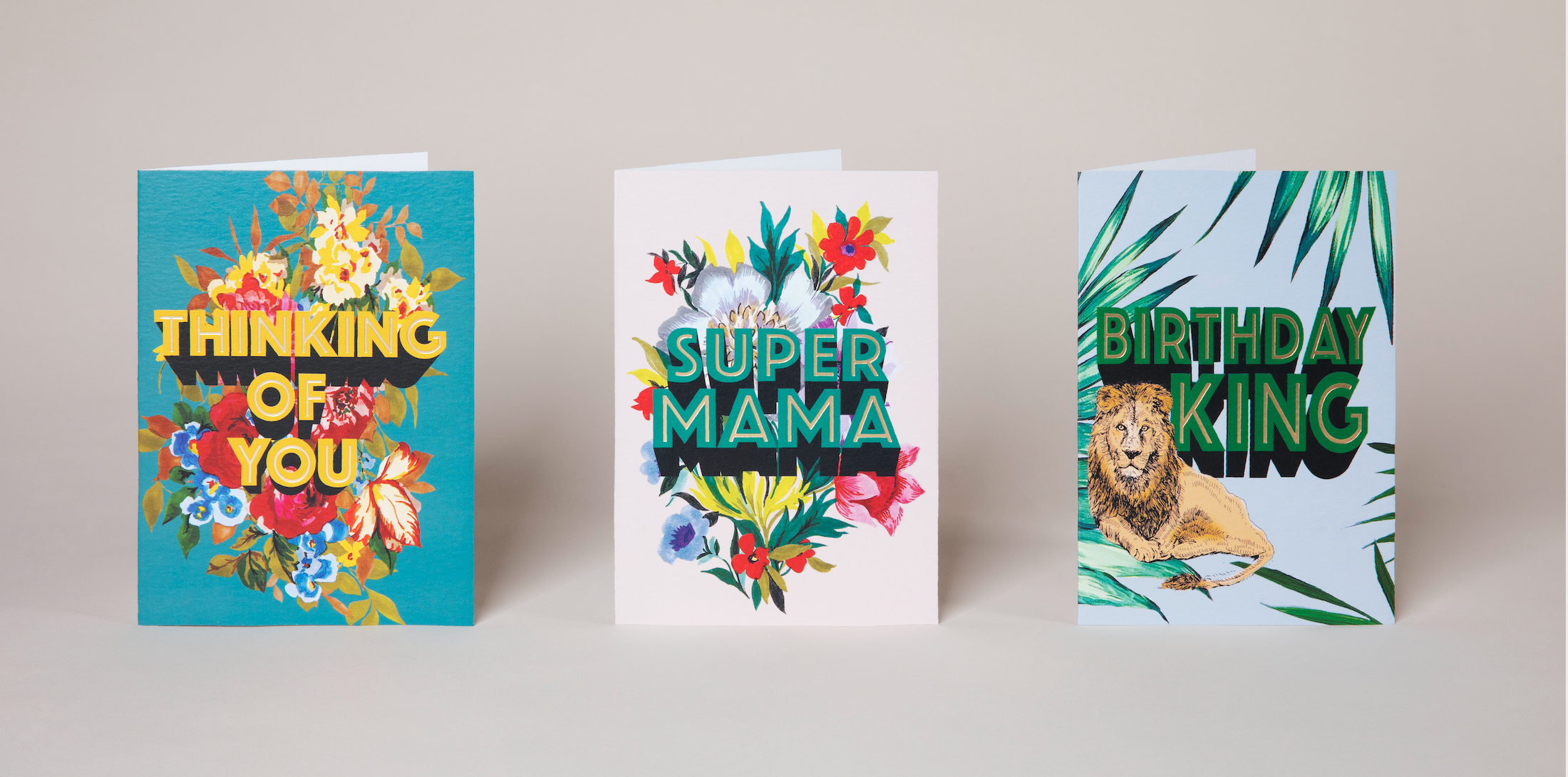Above: The are 12 designs in the Cath Tate Cards' Max Made Me Do It inaugural collection which combine floral motifs, bold colours and fresh captions.