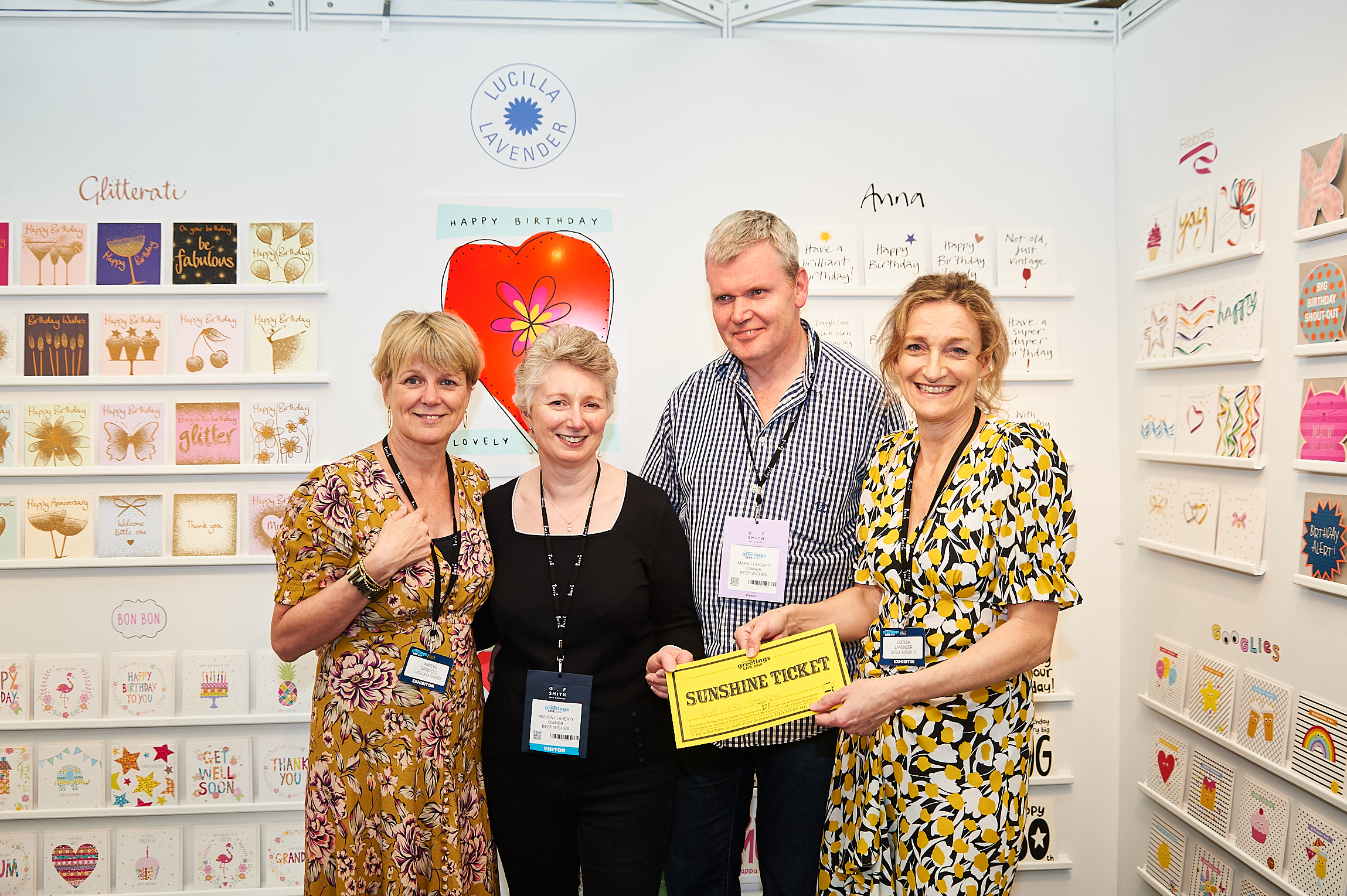 Above: Lucilla Lavender (right), business partner Anneke Driscoll (far left) with Marion and Mark Flaherty (of Best Wishes, Garstang) at PG Live.