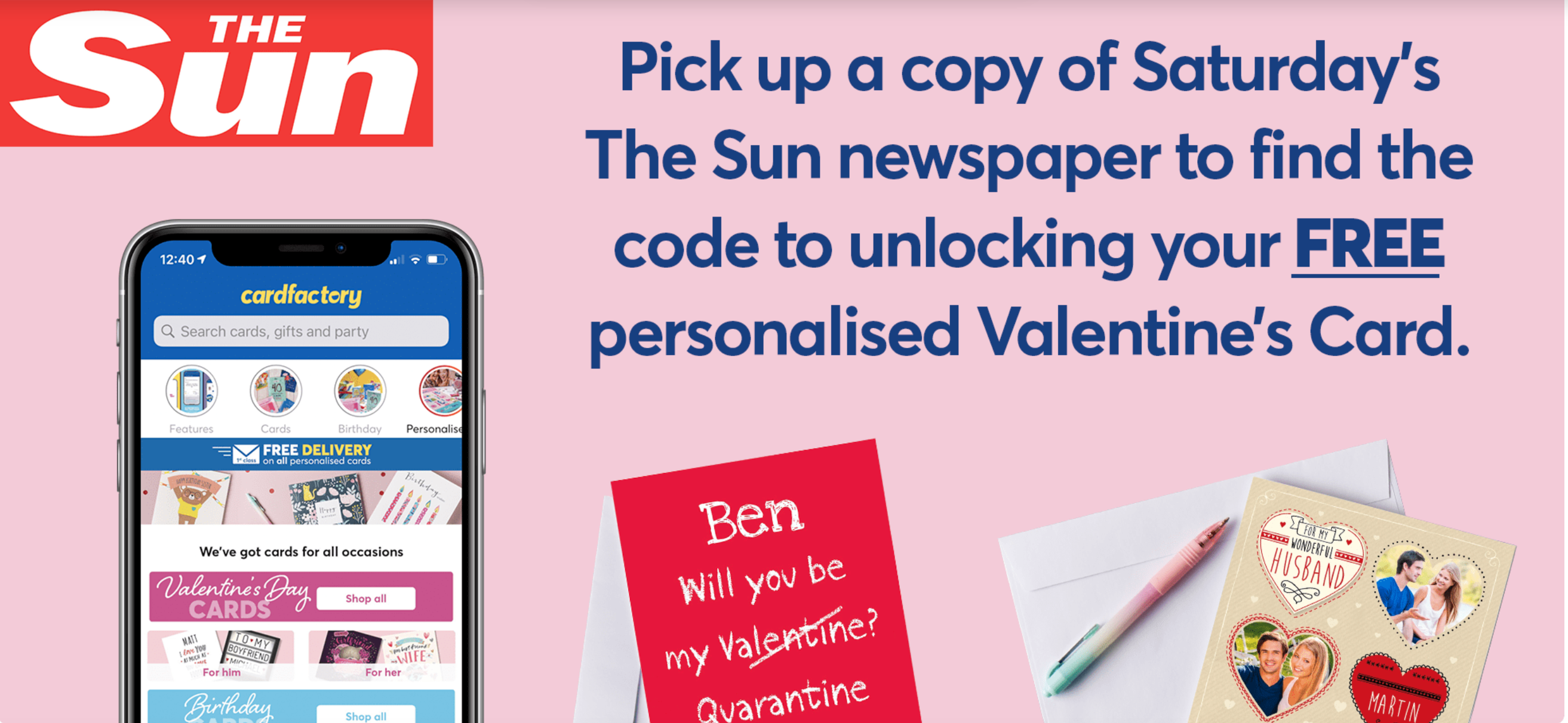 Above: Card Factory ran a promotion with the Sun on Saturday which saw 50,000 Valentine's Day cards being given away for 1p each as part of its recent app launch.