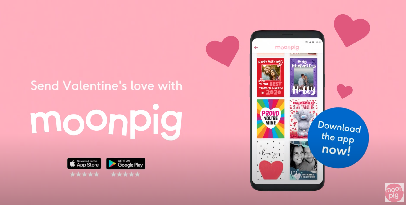Above: Part of Moonpig's Valentine's Day promotion.