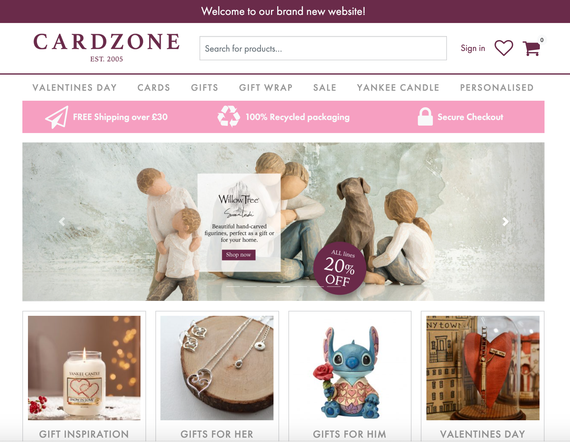 Above: As well as greeting cards from eight publishers (and counting), the new Cardzone site offers gifts and candles from several leading brands as well as giftwrappings.