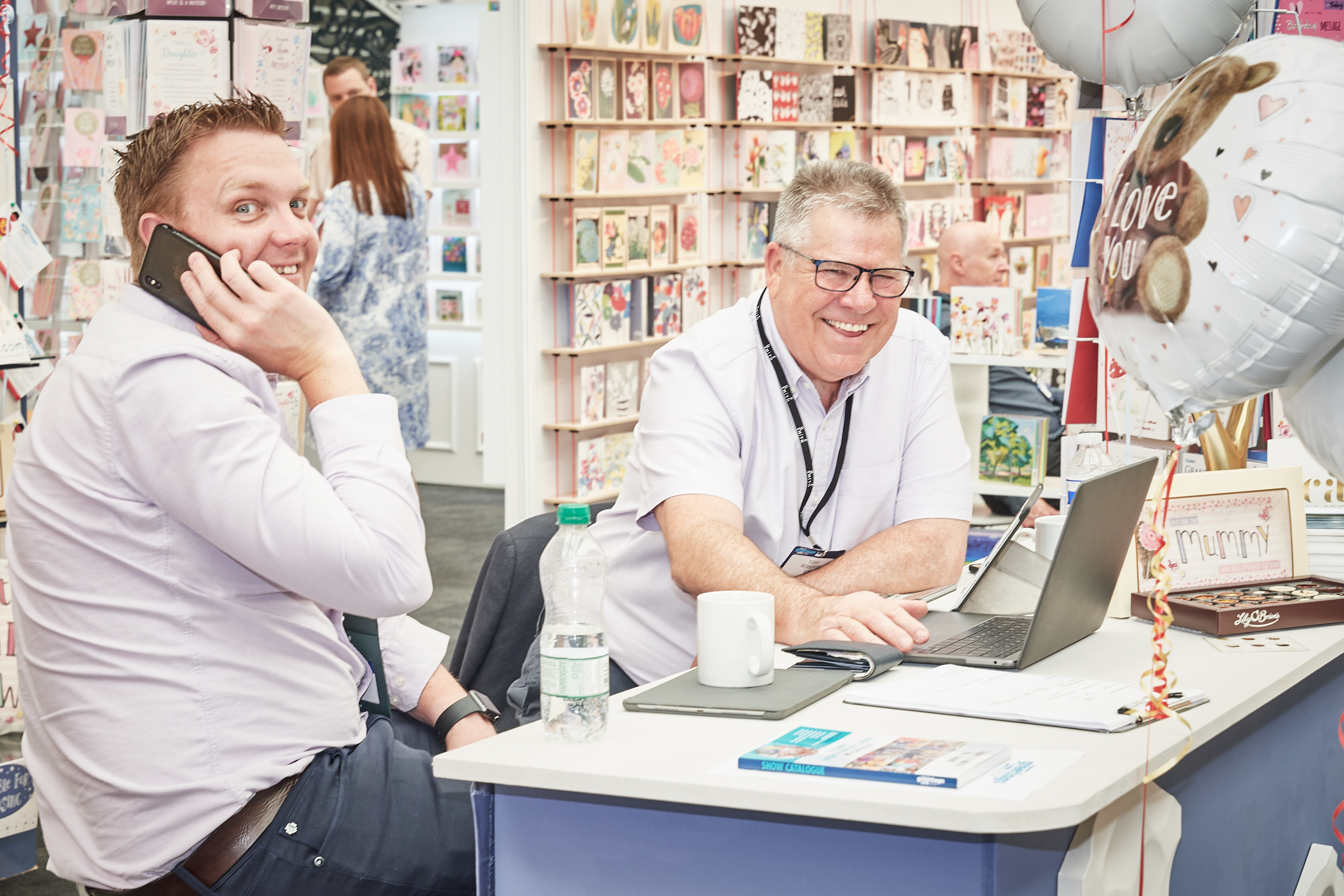 Above: IC&G's managing director Simon Wagstaff (left) with Tony on their stand at the last PG Live.