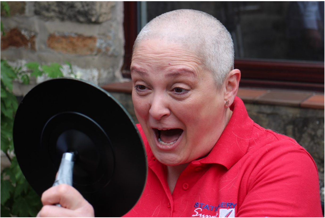 Above: Sarah Laker of Stationery Supplies even shaved her head for charity last summer!
