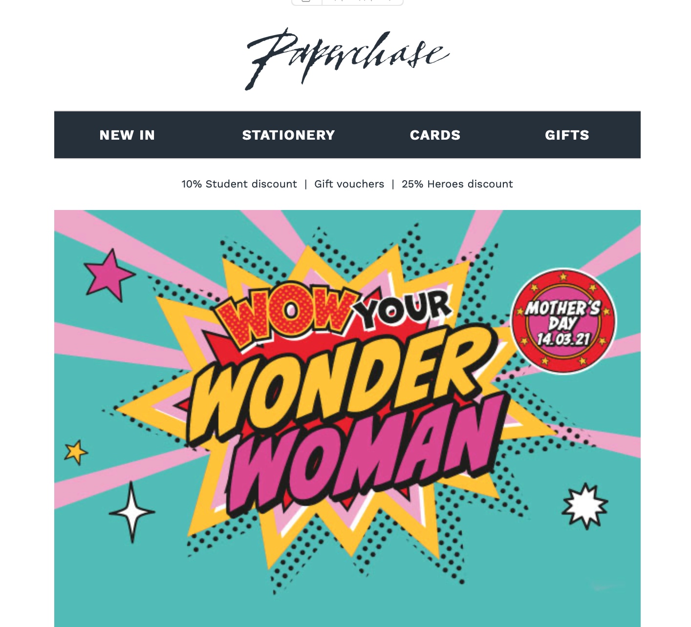 Above: Paperchase is actively promoting Mother's Day under the new ownership.