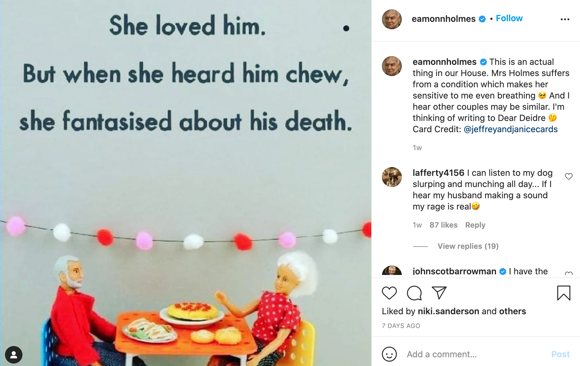 Above: The Instagram post Eamonn Holmes made about the card and the condition.