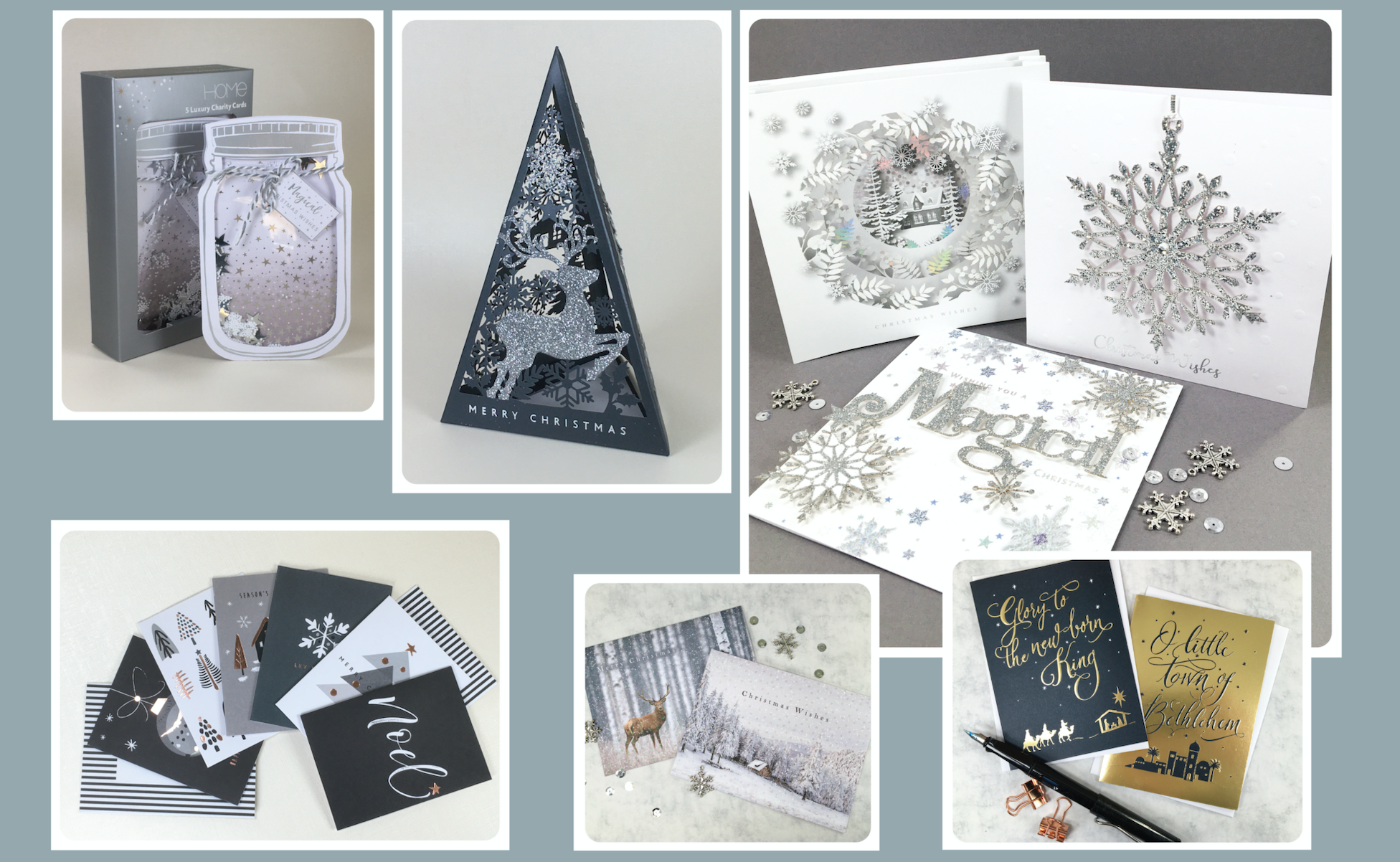 Above: Some of the Christmas cards designed and produced by Tailormade Design.