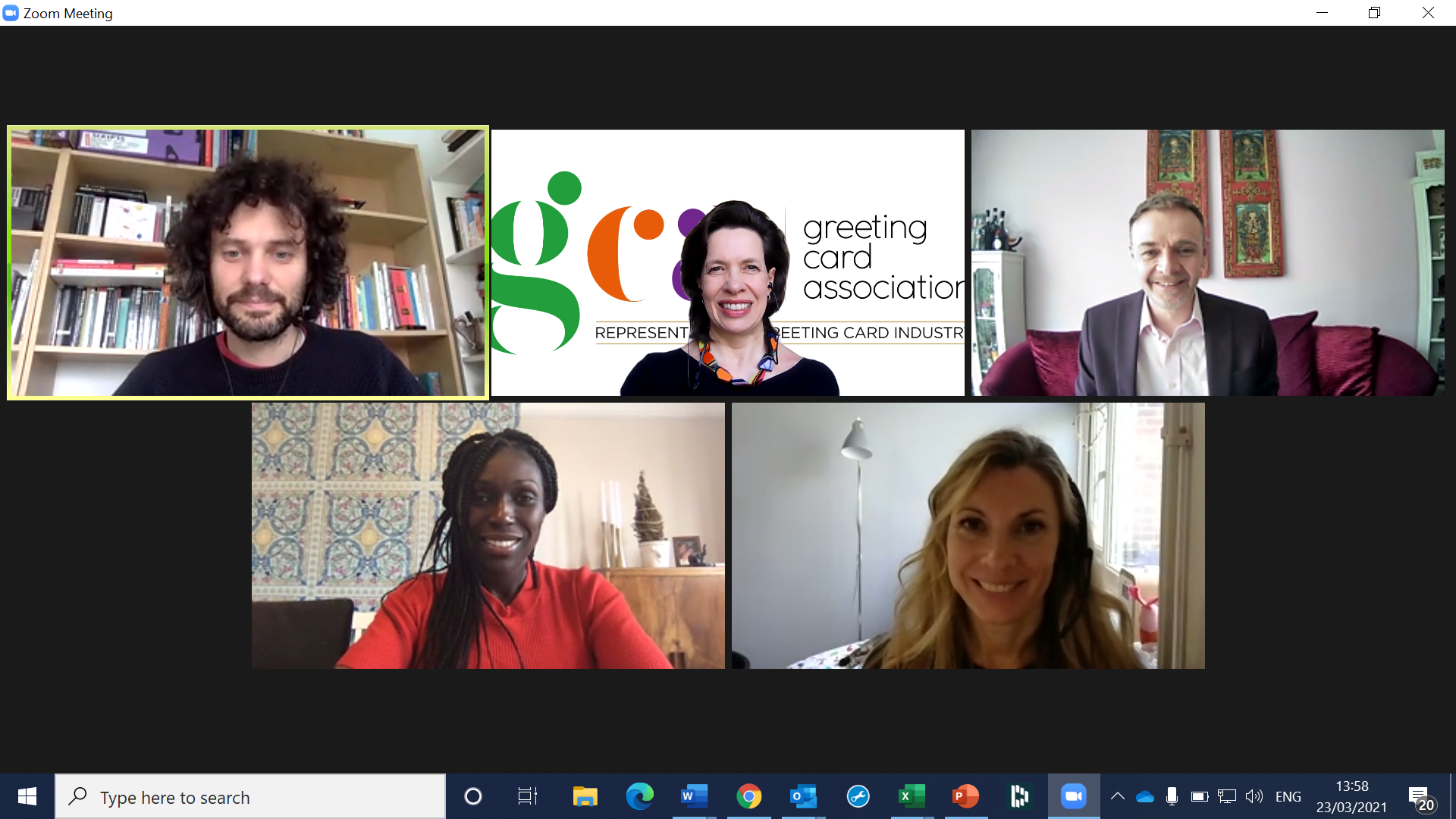 Above: (left-right, top to bottom) Dr Thomas Cuschieri (University of Hertfordshire), Amanda Fergusson (GCA), Chris Bryan (Second Nature), Adriana Lovesy (Mrs Lovesy) and Grace Elphinstone (Carte Blanche) on the Zoom lecture. (The students were not visible).