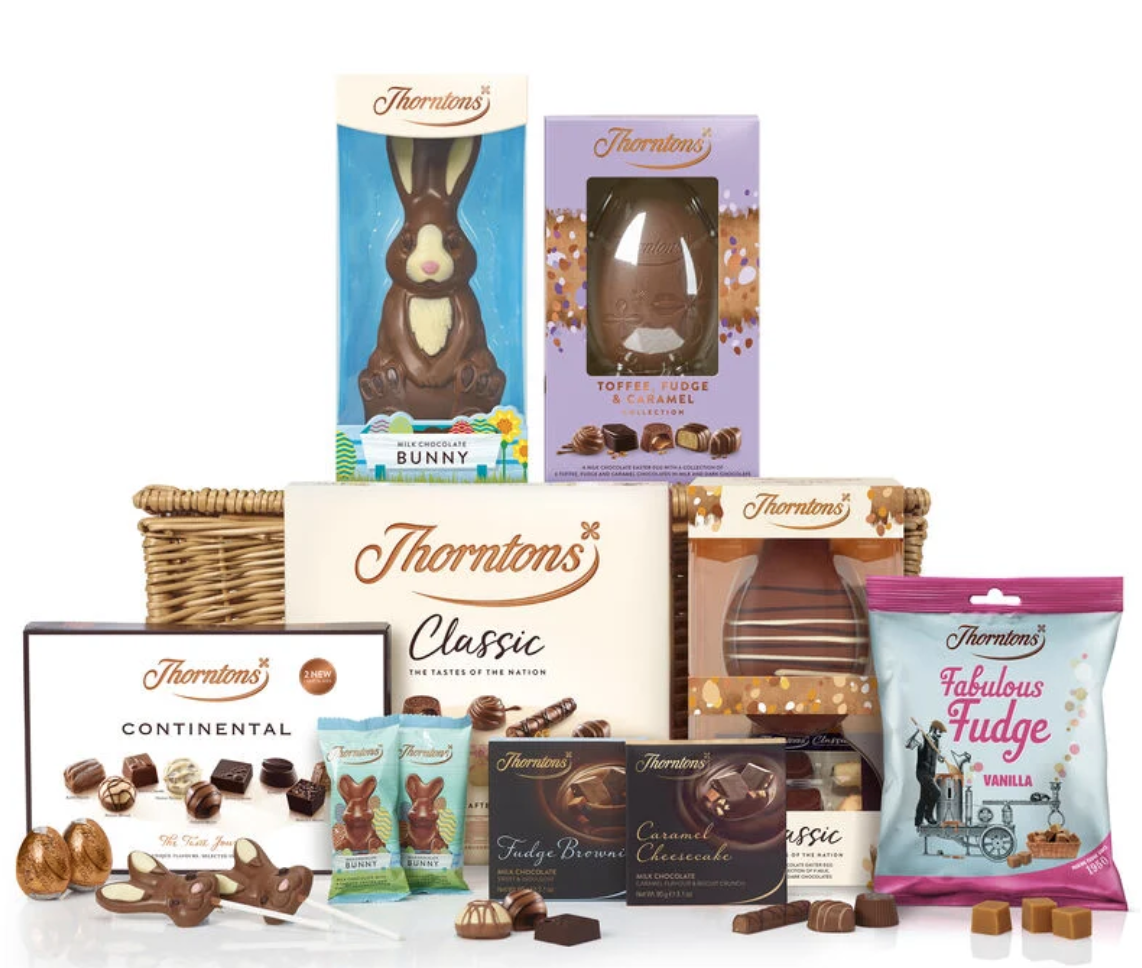 Above: Thorntons is still to operate via its website, franchisees and other retail stockists.