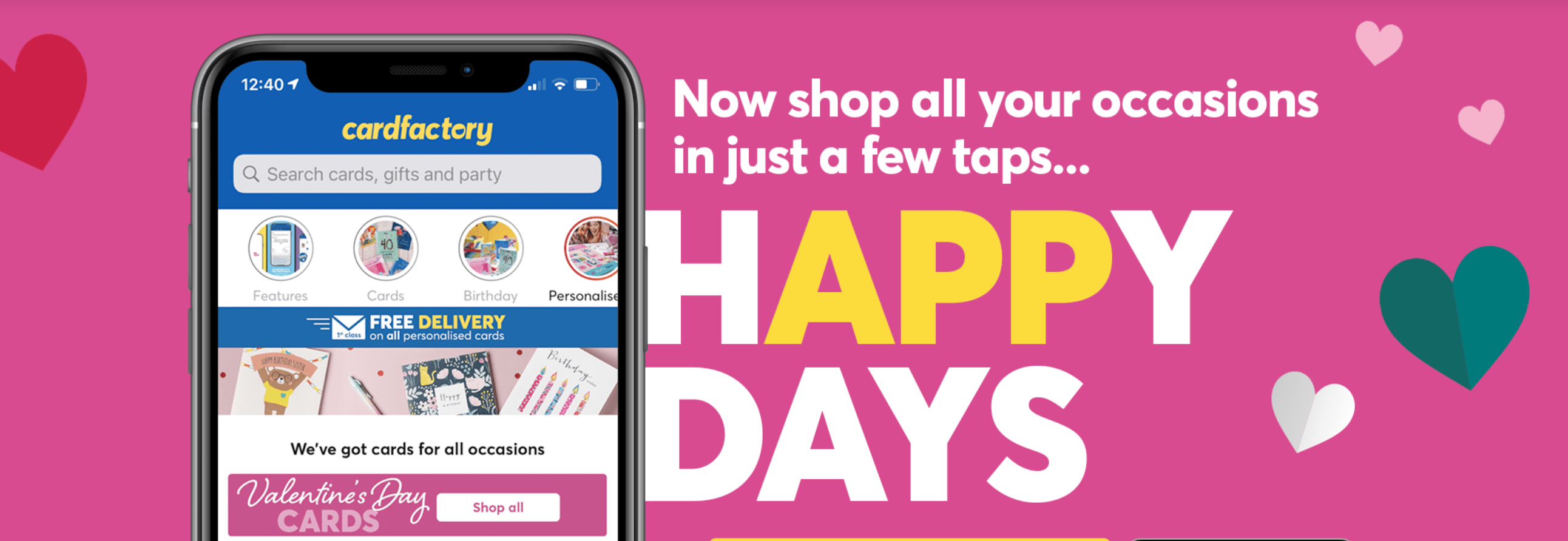 Above: Unable to trade physically during the lockdowns, Card Factory has ramped up with online presence, including the launch of an App.
