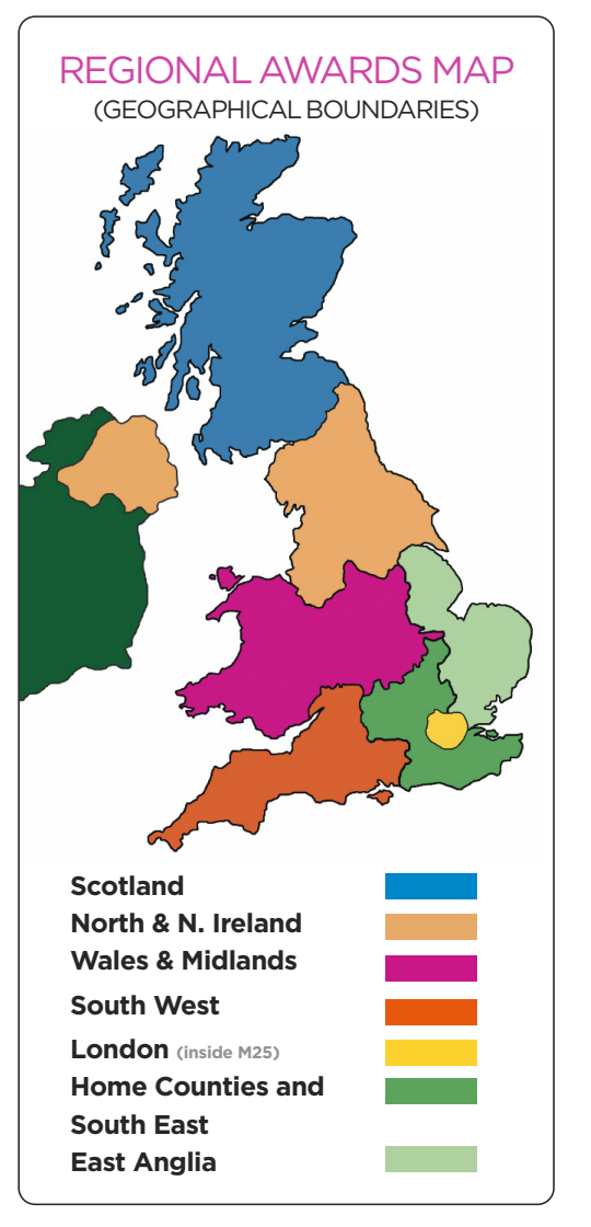 Above: The map showing the geographical boundaries for different categories.