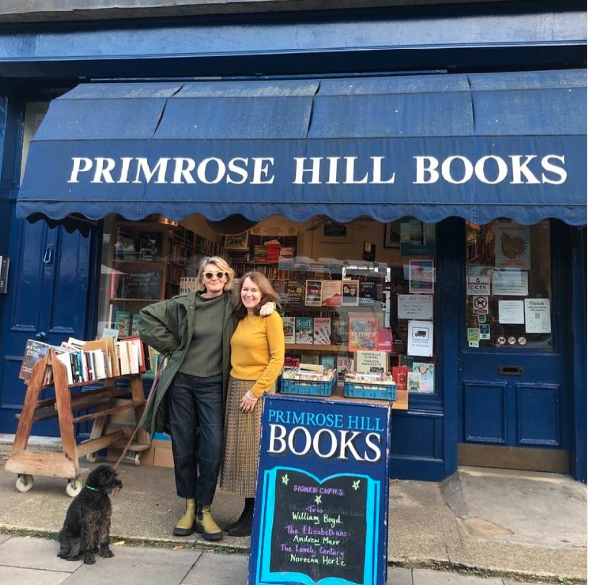 """Above: Mary Portas is a big supporter of indie shops: """"Our shops contribute far more to us than the government realises and their continued health is paramount to creating thriving local economies, feeding our souls and grounding us in the places and spaces that we reside,"""" she posted on social media with this photo of her and her local bookshop."""