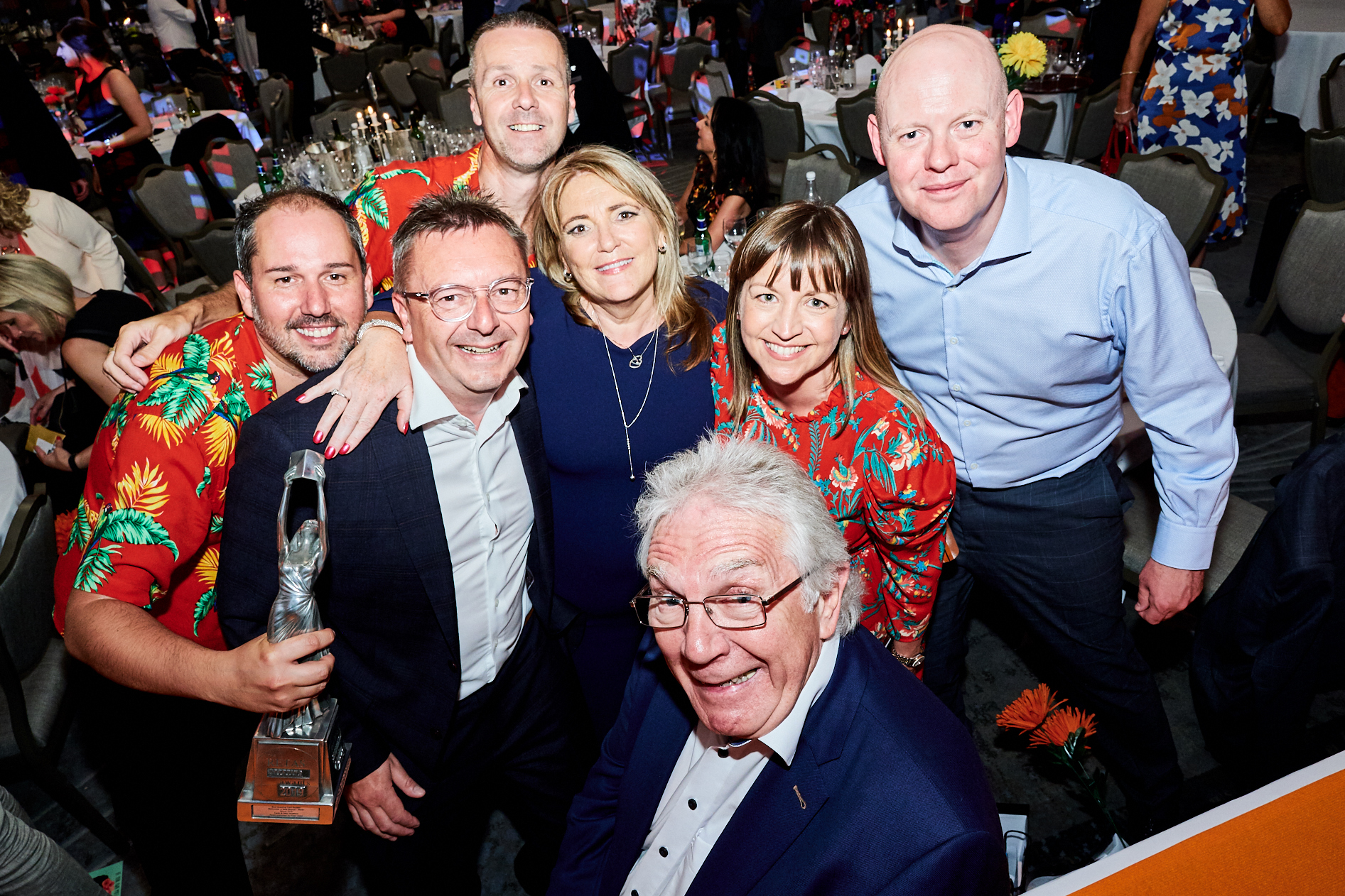 Above: Carl Dunne (at the back) with chums from the trade at The Retas 2019 event.