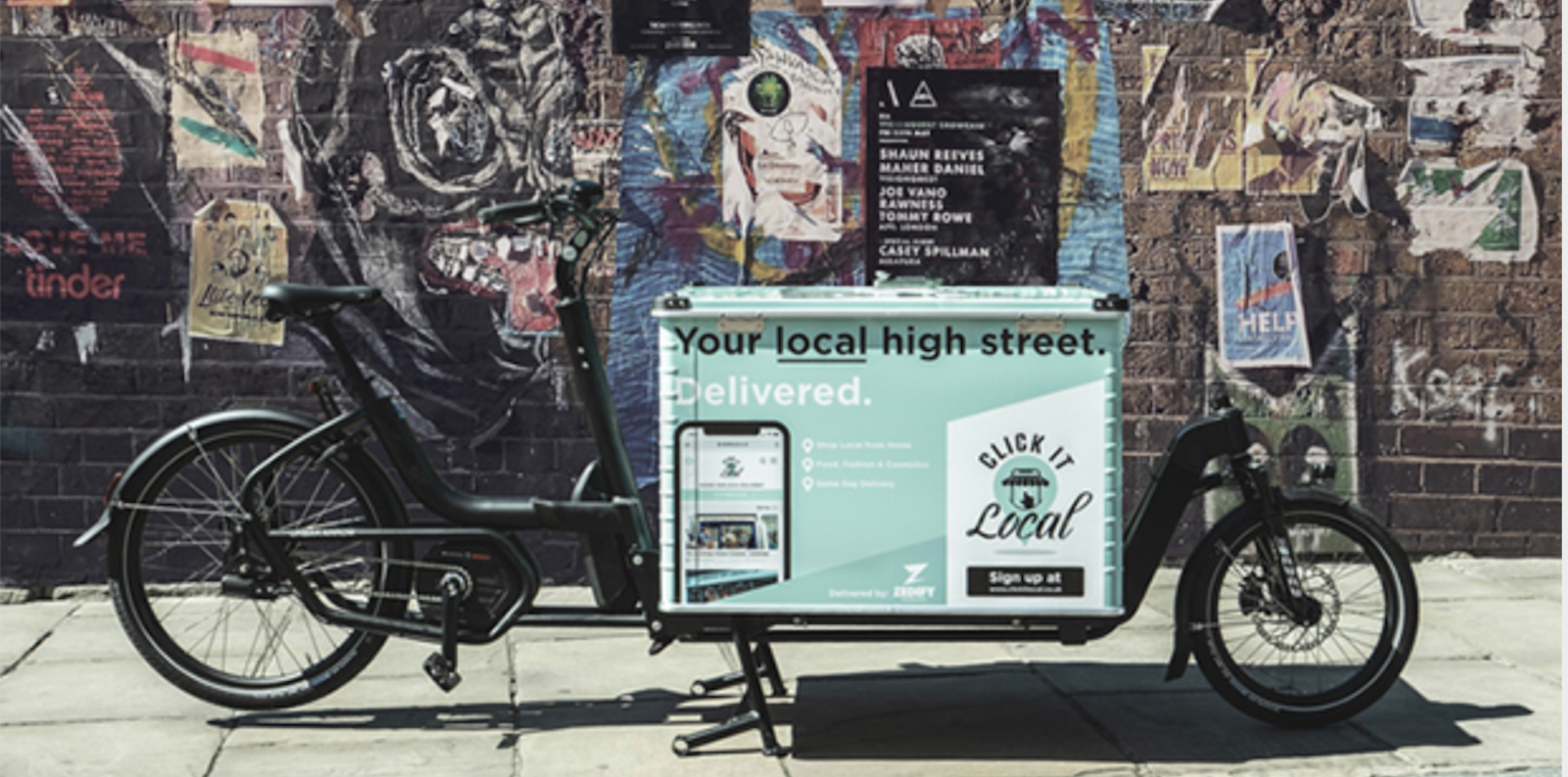 Above: The Click It Local bicycle which forms part of the marketing for the site.