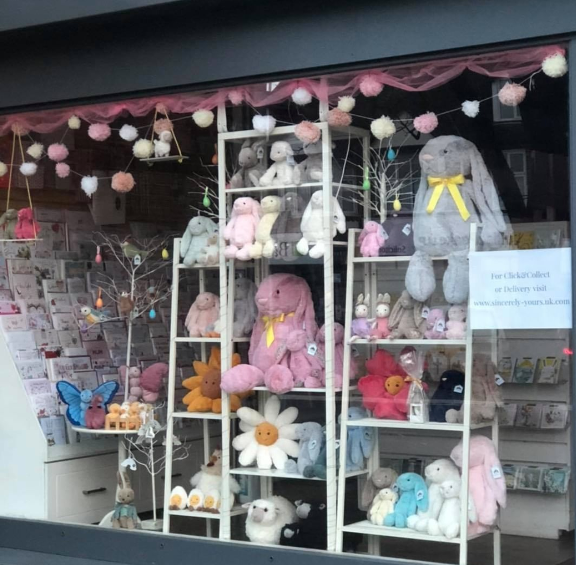 Above: The Easter window display of Sincerely Yours.