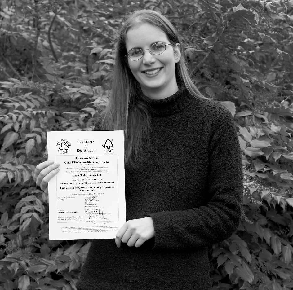Above: Sue Morrish of The Eco-friendly Card Company with the company's FSC accreditation in 2011.