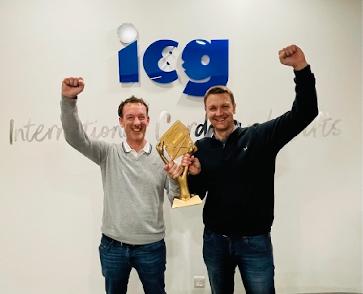 Above: IC&G's co-owners, brothers Simon (right) and Ian Wagstaff with the Gold Best Service to the Independent Retailer trophy the publisher won in The Henries 2021.