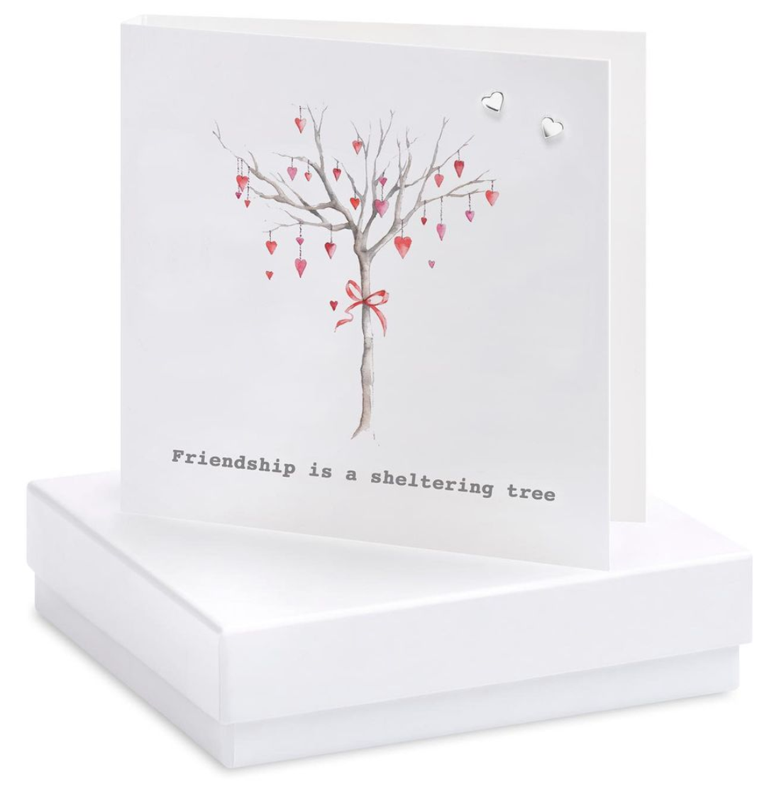 Above: One of the boxed card designs with some silver earrings attached.