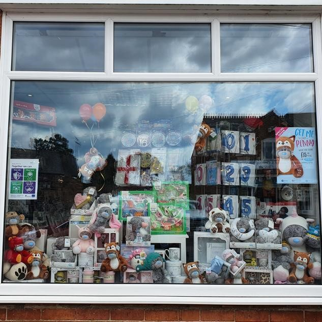 Above: The window of Balloons, Cards N All in Narborough is one of the CBG customers to have embraced the promotion.