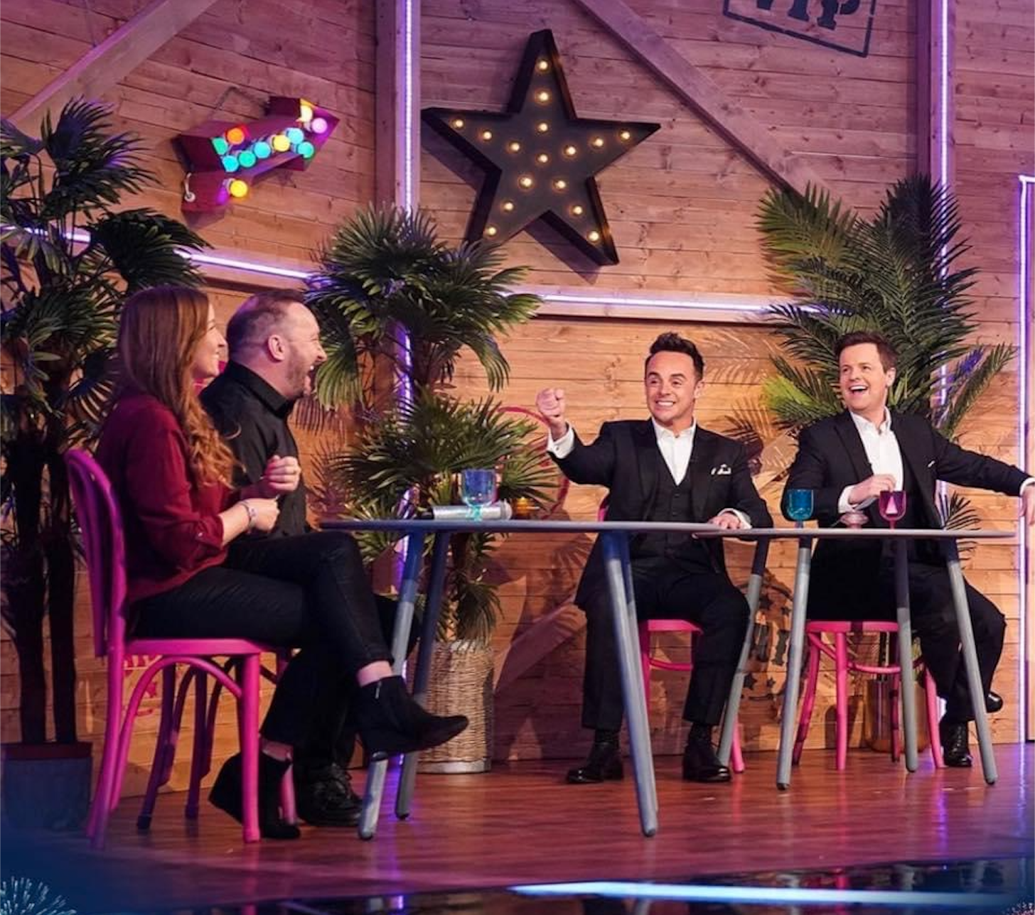 Above: Neil Greenwood with Lorraine Robinson with Ant and Dec being filmed for the recent Saturday Night Takeaway epidode.