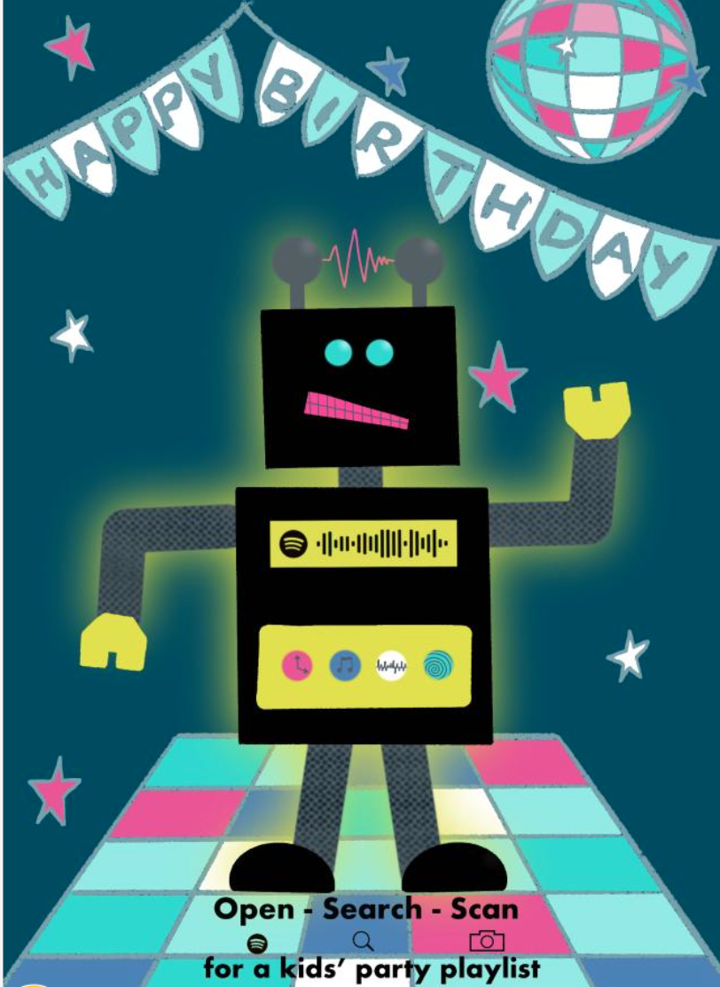 Above: Even a kids' playlist is on offer on this Get the Party Started design.