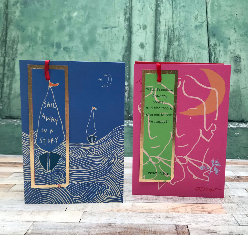 Above: Two designs from Poet and Painter's new Mark my Words bookmark/card range.