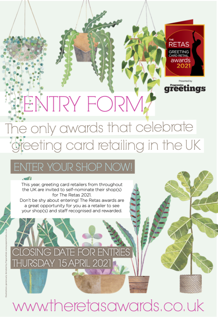 Above: The entry form for The Retas (featuring illustrations by Lianne Harrison of Paperwhale) reflects the Finery of Greenery theme of the awards event in July.