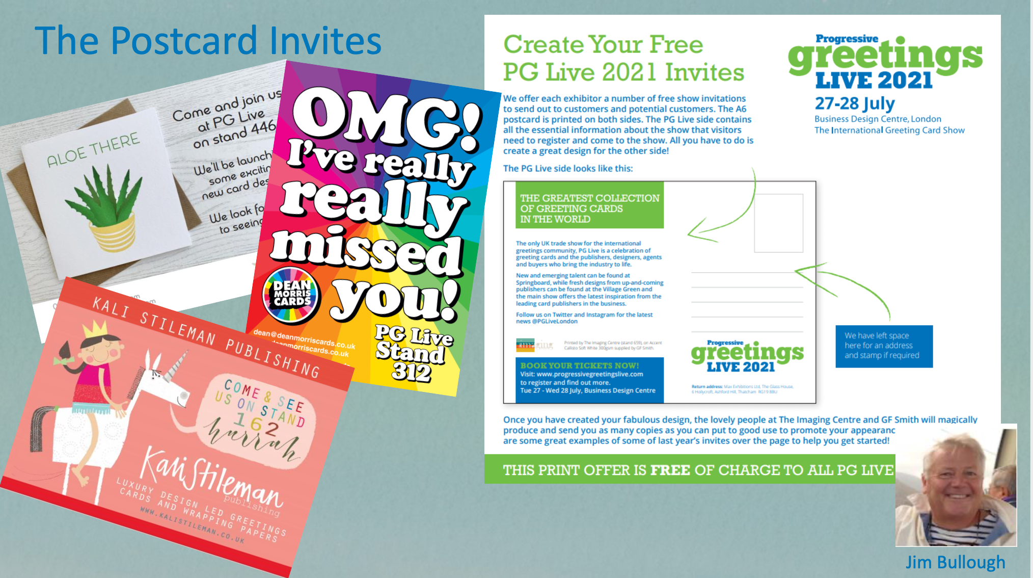 Above: PG Live exhibitors are able to have special postcards printed for free by The Imaging Centre to spread the love.