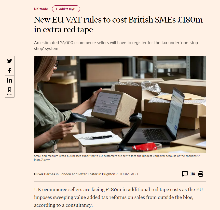 Above: The article on the FT online news site.