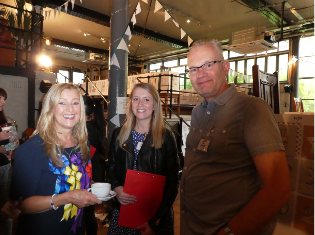 Above: (centre) Emma Tanner of Sainsbury's with Stuart Delahoy of Set and Presentations Andrea Pinder at The Henries 2019 judging.
