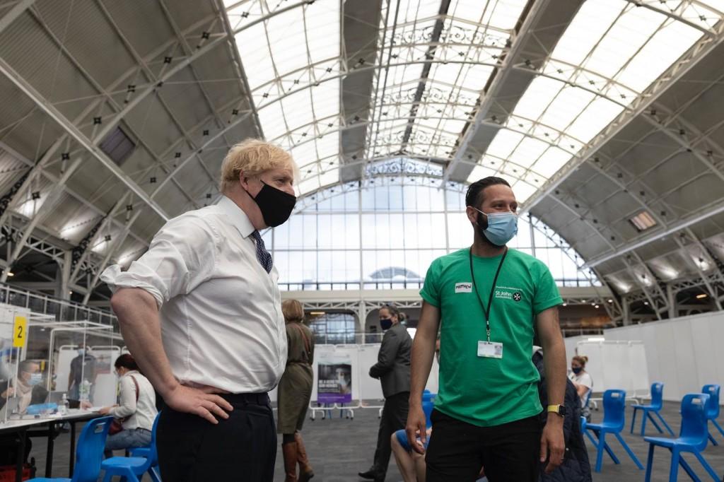 Above: Prime Minister Boris Johnson in the BDC.