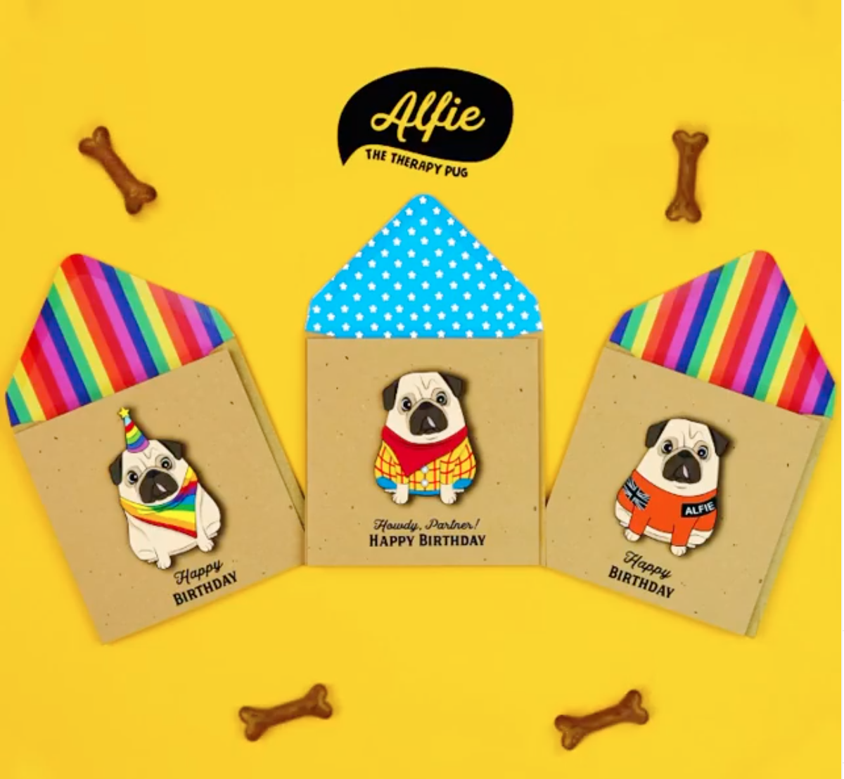 Above: Some of the designs in Tache's Alfie the Pug collection.