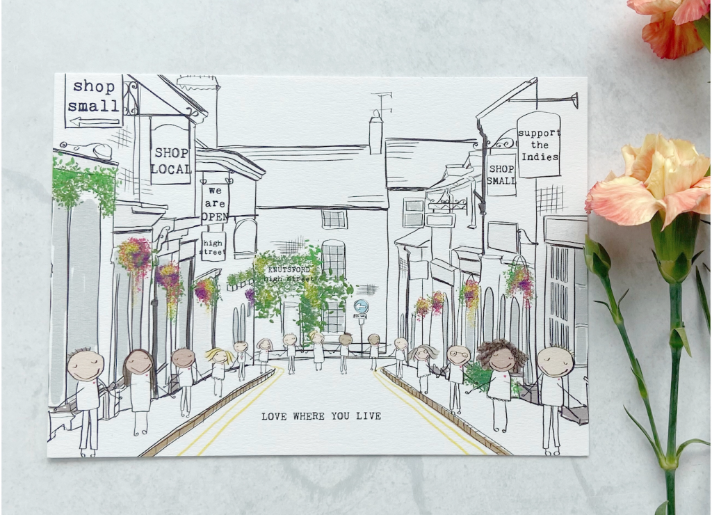 Above: Bex's illustrations champion supporting Knutsford retailers.
