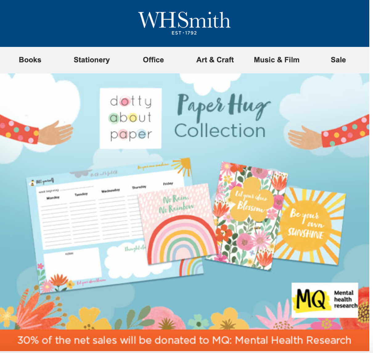 Above: WHSmith has created emailers to promote the Paper Hug Collection.
