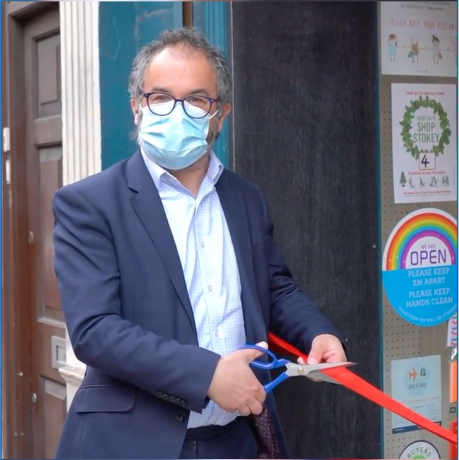 Above: Paul Scully has first hand knowledge of how important the reopening was for card shops as he cut the official ribbon on Earlybird Designs' shop in London's Stoke Newington when he was there with BIRA (another member of the IRC).