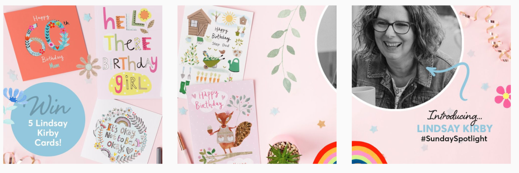 Above: Card Factory has started highlighting the artists and designers behind its ranges on social media.