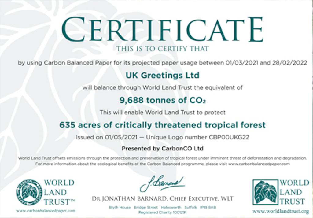 Above: A close up of the certificate issued to UKG by the World Land Trust.