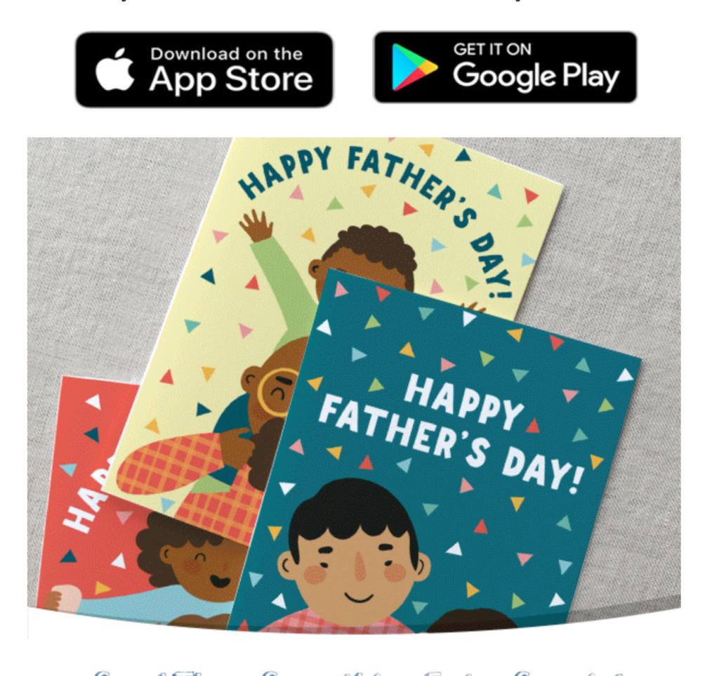 Above: Some of the Father's Day designs that are on offer.